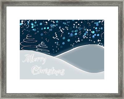 Snowy Night Christmas Card Framed Print by Lisa Knechtel