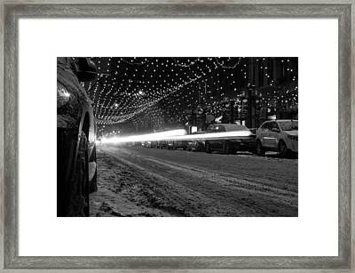 Snowy Night Light Trails Framed Print