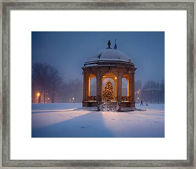 Snowy Night On The Salem Common Framed Print