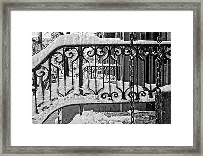Framed Print featuring the painting Snowy Nyc Steps by Joan Reese