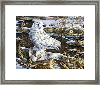 Snowy Owl And Hungarian Partridge Framed Print by Larry Seiler
