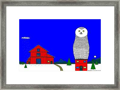 Snowy Owl On Red House. Framed Print by Richard Magin