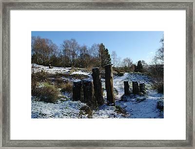 Snowy Path On Hills Framed Print