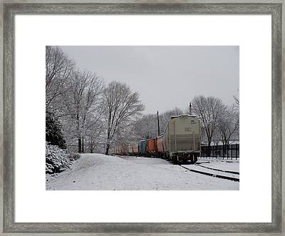 Snowy Rails Framed Print
