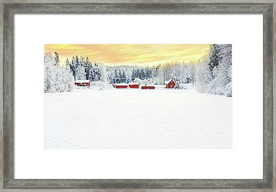 Snowy Ranch At Sunset Framed Print