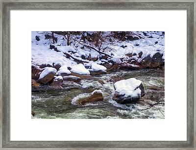 Snowy Riverbank Framed Print by Garry Gay