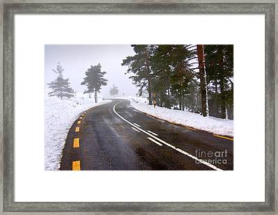 Snowy Road Framed Print by Carlos Caetano