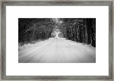 Snowy Road In Oklahoma Framed Print by Nathan Hillis