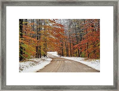 Snowy Road Through Autumn Framed Print
