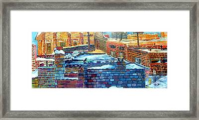 Snowy Roof Tops Framed Print by Mindy Newman