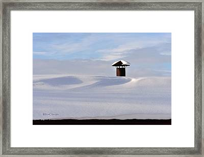 Snowy Roof With Stove Pipe Framed Print