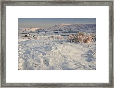 Snowy Scene With Evening Sun Framed Print