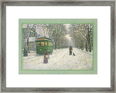 Snowy Scene With Old Fashioned Framed Print