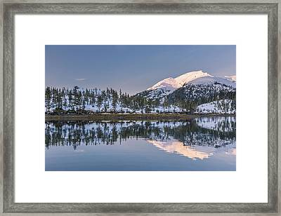 Snowy Scenic Reflected In The Waters Framed Print by Kevin Smith