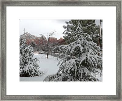 Snowy Sedona Red Rocks Framed Print
