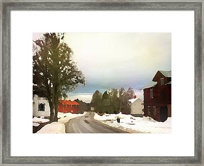 Snowy Street With Red House Framed Print