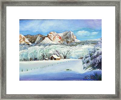 Framed Print featuring the painting Snowy Sugar Knoll by Sherril Porter