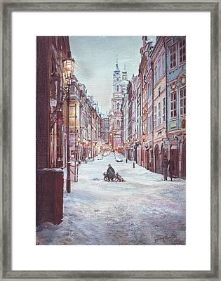 snowy Sunday night in Prague Framed Print by Gordana Dokic Segedin