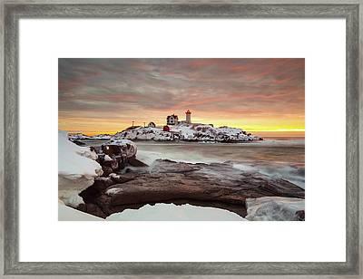 Snowy Sunrise Framed Print by Christopher Georgia