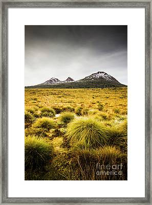 Snowy Tasmania Mountain Top Framed Print