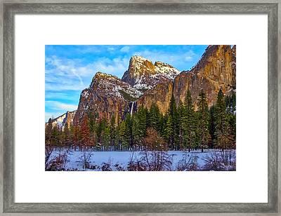 Snowy Valley Framed Print by Garry Gay