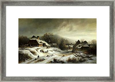 Snowy Village Landscape In Evening Light Framed Print