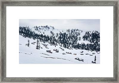 Snowy Village Framed Print by Svetlana Sewell