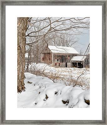 Snowy Vintage New England Barn Framed Print by Bill Wakeley