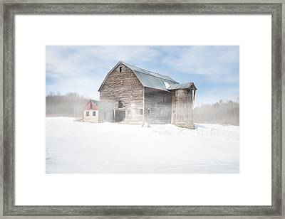 Framed Print featuring the photograph Snowy Winter Barn by Gary Heller