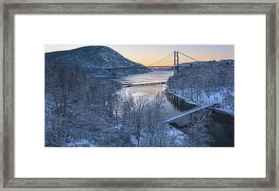 Snowy Winter Dawn At Three Bridges Framed Print