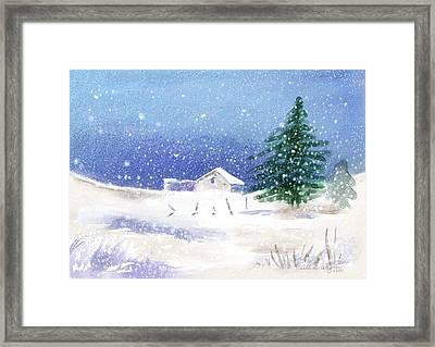 Snowy Winter Scene Framed Print by Arline Wagner