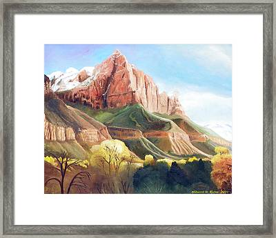 Framed Print featuring the painting Snowy Zion's Watchman by Sherril Porter