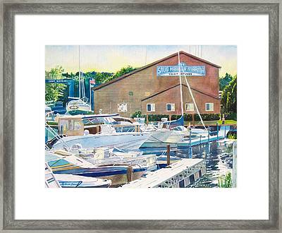 Framed Print featuring the painting Snug Harbor II by LeAnne Sowa