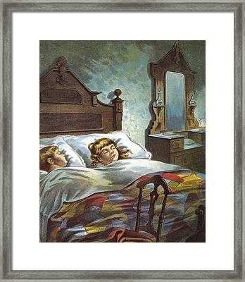 Snug In Their Bed On Christmas Eve Framed Print