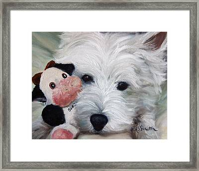 Snuggling Up To Budda Framed Print by Mary Sparrow