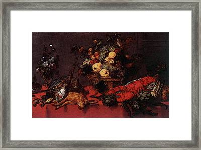 Snyders Frans Still Life With A Basket Of Fruit Framed Print by Frans Snyders