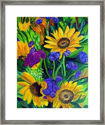 Sunflowers -soaking Up Sunshine Framed Print