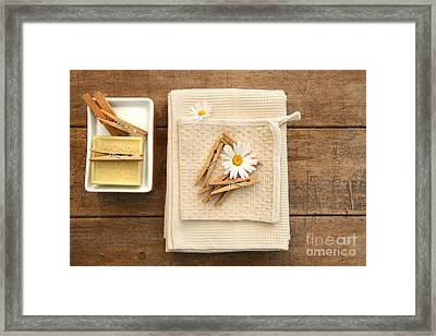 Soap Clothespins And Towels  Framed Print by Sandra Cunningham