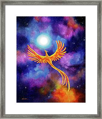 Soaring Firebird In A Cosmic Sky Framed Print by Laura Iverson