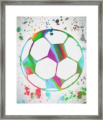 Soccer Ball Paint Splatter Framed Print by Dan Sproul