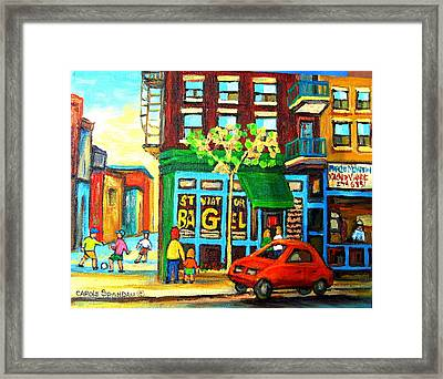 Soccer Game At The Bagel Shop Framed Print by Carole Spandau