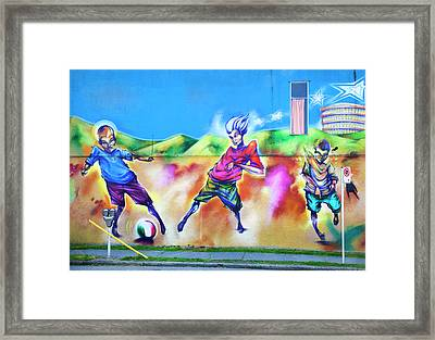 Soccer Graffiti Framed Print by Theresa Tahara