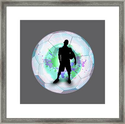 Soccer Player Posing With Ball Soccer Background Framed Print by Elaine Plesser