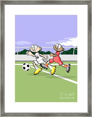 Soccer Players Running After The Ball Framed Print
