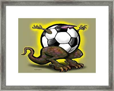 Soccer Saurus Rex Framed Print by Kevin Middleton