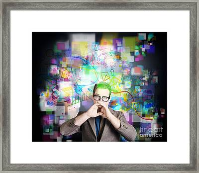 Social Media Internet Man With Marketing Message Framed Print by Jorgo Photography - Wall Art Gallery