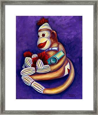 Sock Monkey With Kazoo Framed Print