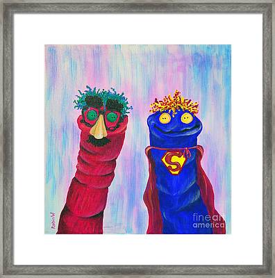 Sock Puppets Under Cover Framed Print by Robin Wiesneth