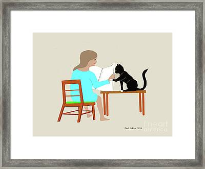 Socks Reads Sunday Paper Framed Print by Fred Jinkins