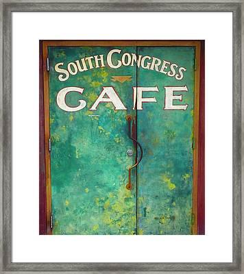 Soco Cafe Doors Framed Print